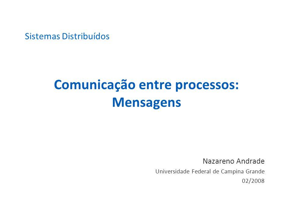 Comunicação entre processos: Mensagens Nazareno Andrade Universidade Federal de Campina Grande 02/2008 Sistemas Distribuídos