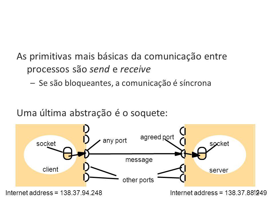 10 As primitivas mais básicas da comunicação entre processos são send e receive –Se são bloqueantes, a comunicação é síncrona Uma última abstração é o soquete: message agreed port any port socket Internet address = 138.37.88.249Internet address = 138.37.94.248 other ports client server