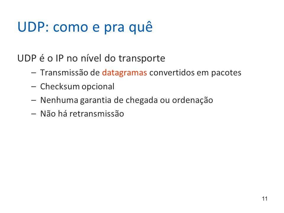 11 UDP: como e pra quê UDP é o IP no nível do transporte –Transmissão de datagramas convertidos em pacotes –Checksum opcional –Nenhuma garantia de chegada ou ordenação –Não há retransmissão