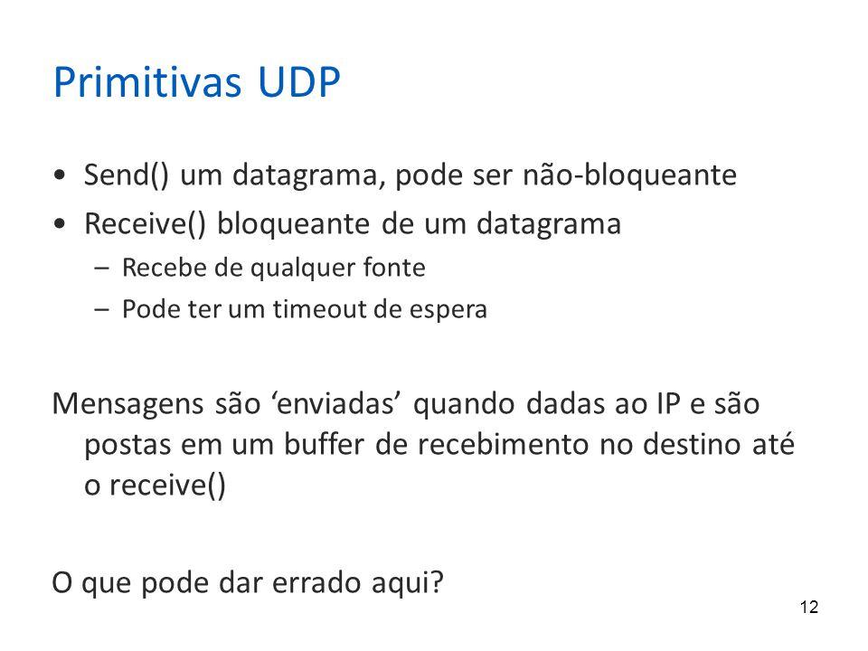 12 Primitivas UDP Send() um datagrama, pode ser não-bloqueante Receive() bloqueante de um datagrama –Recebe de qualquer fonte –Pode ter um timeout de espera Mensagens são 'enviadas' quando dadas ao IP e são postas em um buffer de recebimento no destino até o receive() O que pode dar errado aqui