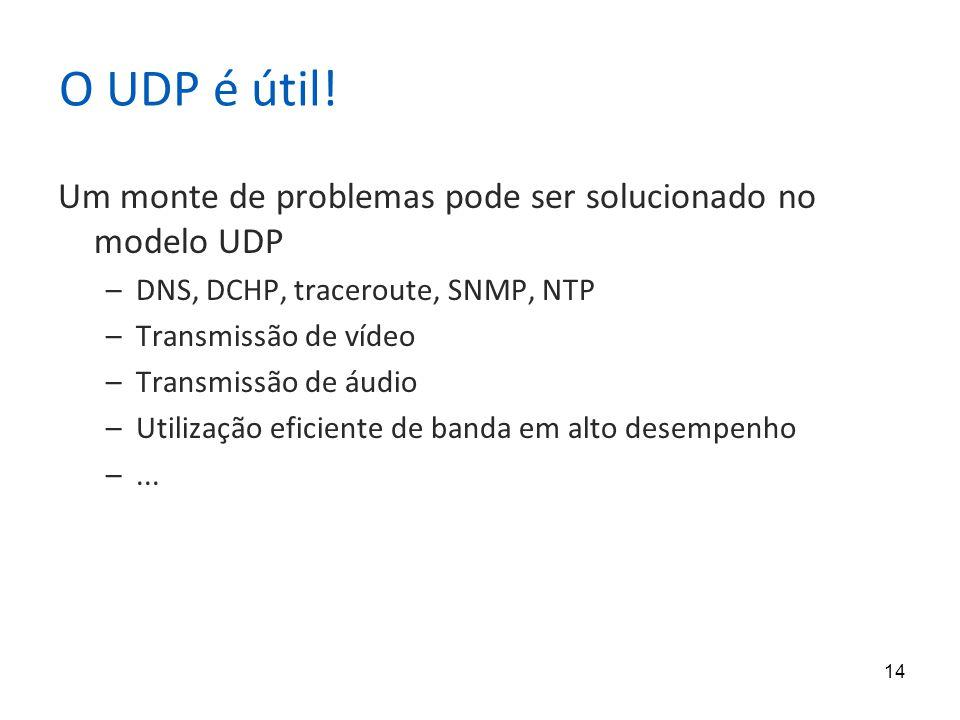 14 O UDP é útil! Um monte de problemas pode ser solucionado no modelo UDP –DNS, DCHP, traceroute, SNMP, NTP –Transmissão de vídeo –Transmissão de áudi