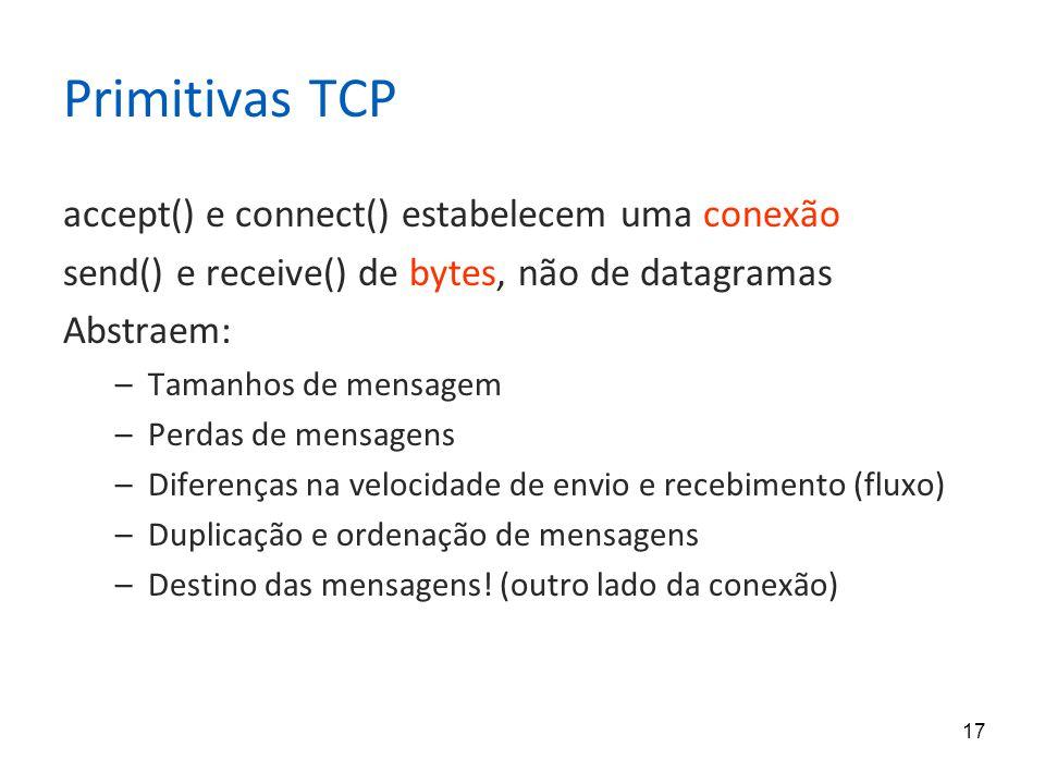 17 Primitivas TCP accept() e connect() estabelecem uma conexão send() e receive() de bytes, não de datagramas Abstraem: –Tamanhos de mensagem –Perdas de mensagens –Diferenças na velocidade de envio e recebimento (fluxo) –Duplicação e ordenação de mensagens –Destino das mensagens.