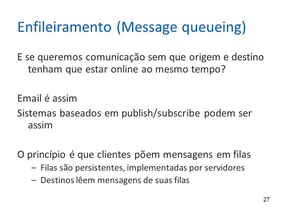 27 Enfileiramento (Message queueing) E se queremos comunicação sem que origem e destino tenham que estar online ao mesmo tempo.