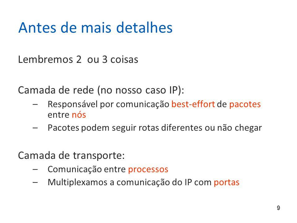 9 Antes de mais detalhes Lembremos 2 ou 3 coisas Camada de rede (no nosso caso IP): –Responsável por comunicação best-effort de pacotes entre nós –Pacotes podem seguir rotas diferentes ou não chegar Camada de transporte: –Comunicação entre processos –Multiplexamos a comunicação do IP com portas