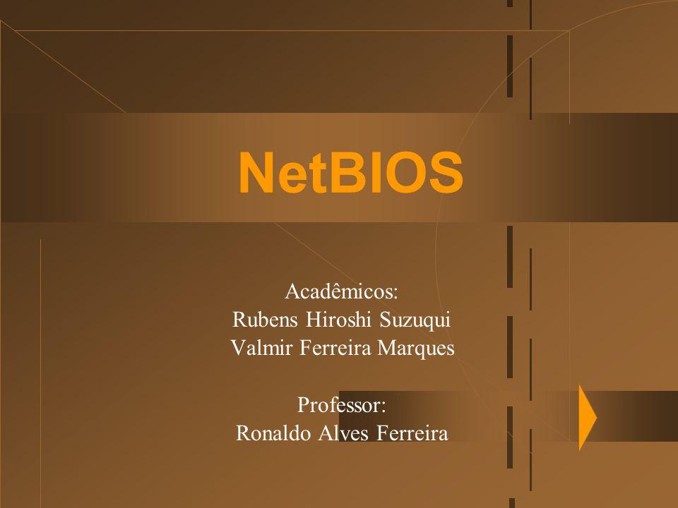 Organização da Apresentação u Introdução  Definição  Nomes NetBIOS  Serviços oferecidos pelo NetBIOS u Serviços Gerais do NetBIOS u Serviço de Nome u Serviços de Sessão u Serviços de Datagrama  Interface do NetBIOS e o NCB  Conclusão