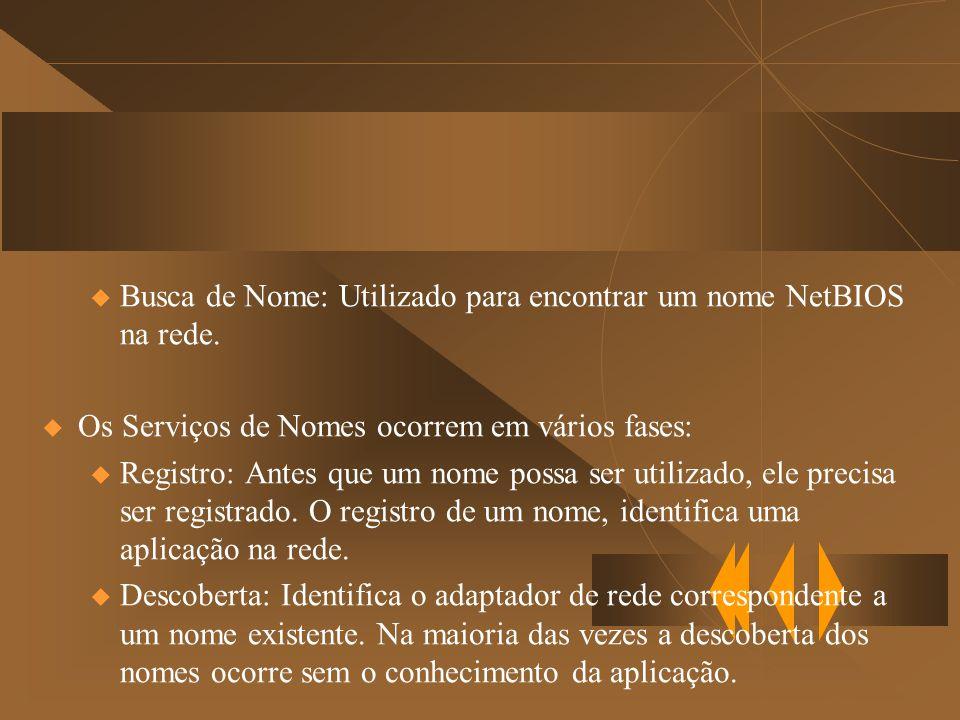 u Busca de Nome: Utilizado para encontrar um nome NetBIOS na rede.