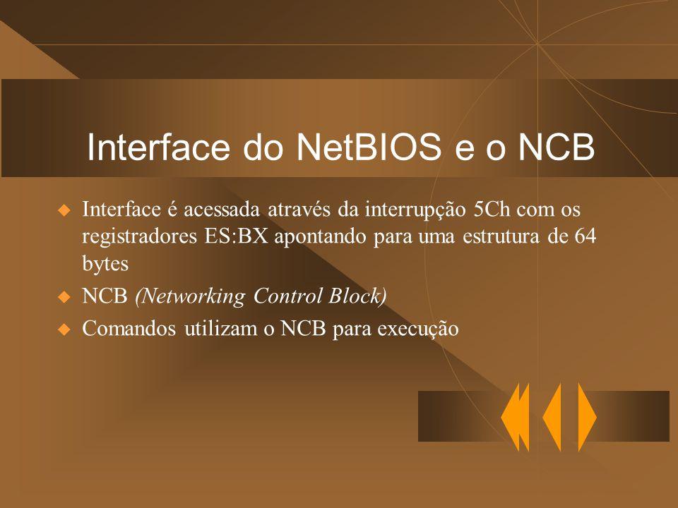 Interface do NetBIOS e o NCB  Interface é acessada através da interrupção 5Ch com os registradores ES:BX apontando para uma estrutura de 64 bytes  NCB (Networking Control Block)  Comandos utilizam o NCB para execução
