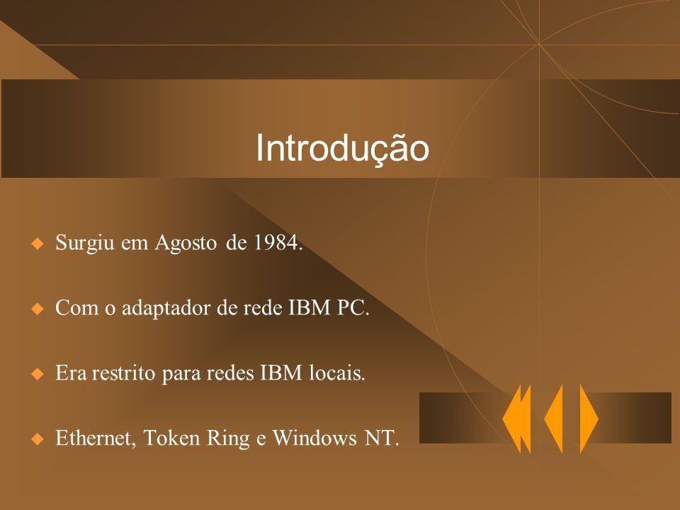 Introdução  Surgiu em Agosto de 1984. Com o adaptador de rede IBM PC.