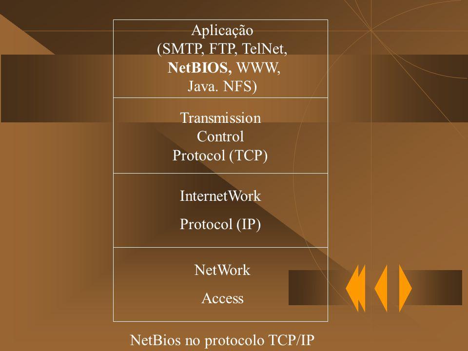 Aplicação (SMTP, FTP, TelNet, NetBIOS, WWW, Java.