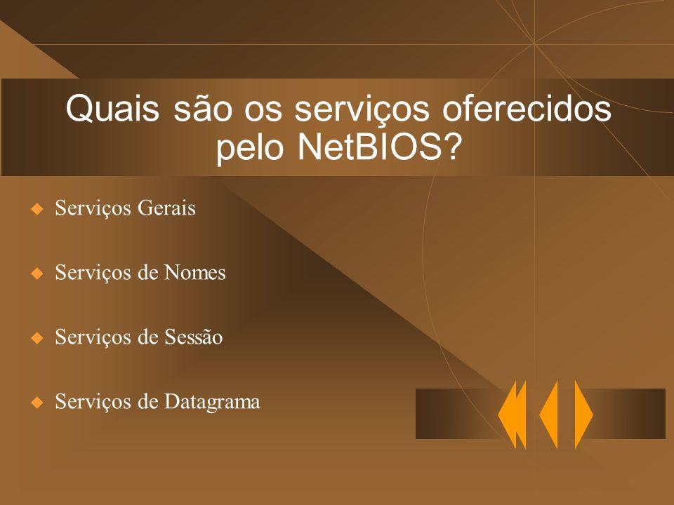 Quais são os serviços oferecidos pelo NetBIOS.