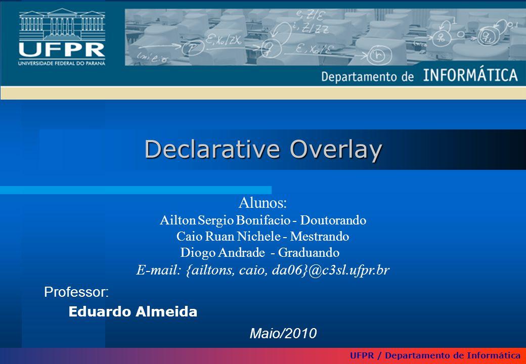 Declarative Overlay Professor: Eduardo Almeida UFPR / Departamento de Informática Alunos: Ailton Sergio Bonifacio - Doutorando Caio Ruan Nichele - Mes