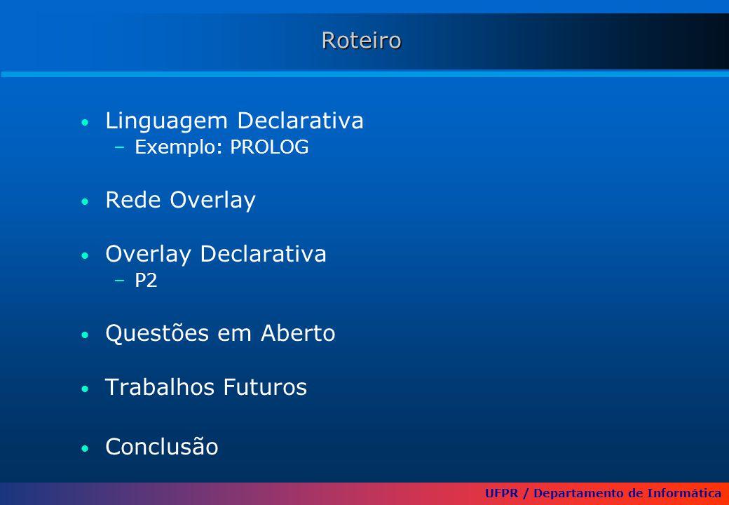 UFPR / Departamento de Informática Roteiro Linguagem Declarativa –Exemplo: PROLOG Rede Overlay Overlay Declarativa –P2 Questões em Aberto Trabalhos Fu