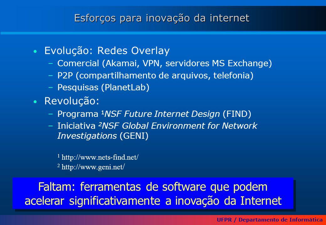 UFPR / Departamento de Informática Esforços para inovação da internet Evolução: Redes Overlay –Comercial (Akamai, VPN, servidores MS Exchange) –P2P (compartilhamento de arquivos, telefonia) –Pesquisas (PlanetLab) Revolução: –Programa 1 NSF Future Internet Design (FIND) –Iniciativa 2 NSF Global Environment for Network Investigations (GENI) 1 http://www.nets-find.net/ 2 http://www.geni.net / Faltam: ferramentas de software que podem acelerar significativamente a inovação da Internet