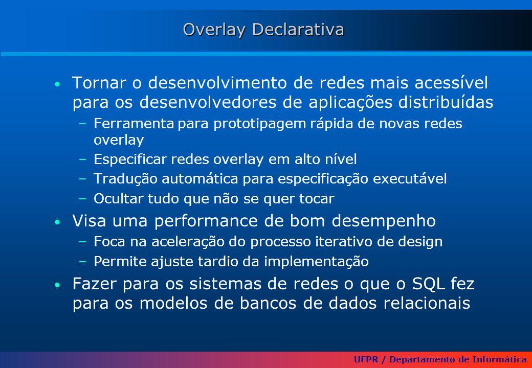 UFPR / Departamento de Informática Overlay Declarativa Tornar o desenvolvimento de redes mais acessível para os desenvolvedores de aplicações distribuídas –Ferramenta para prototipagem rápida de novas redes overlay –Especificar redes overlay em alto nível –Tradução automática para especificação executável –Ocultar tudo que não se quer tocar Visa uma performance de bom desempenho –Foca na aceleração do processo iterativo de design –Permite ajuste tardio da implementação Fazer para os sistemas de redes o que o SQL fez para os modelos de bancos de dados relacionais