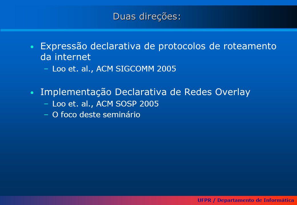 UFPR / Departamento de Informática Duas direções: Expressão declarativa de protocolos de roteamento da internet –Loo et. al., ACM SIGCOMM 2005 Impleme