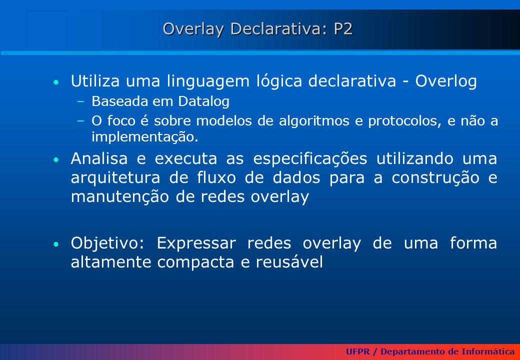 UFPR / Departamento de Informática Overlay Declarativa: P2 Utiliza uma linguagem lógica declarativa - Overlog –Baseada em Datalog –O foco é sobre mode