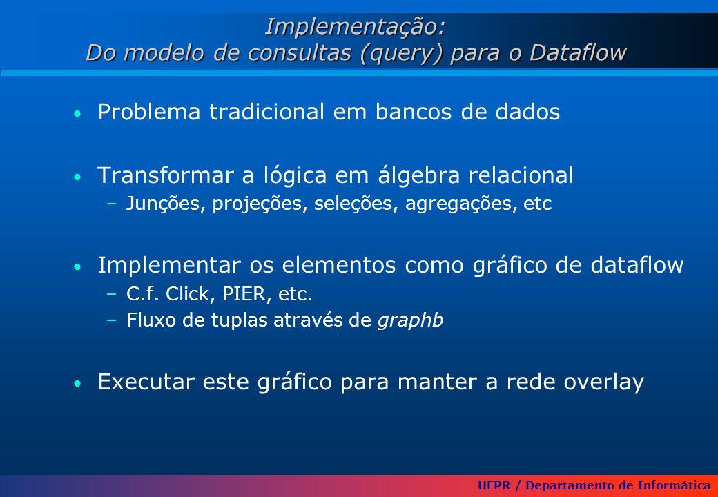 UFPR / Departamento de Informática Implementação: Do modelo de consultas (query) para o Dataflow Problema tradicional em bancos de dados Transformar a lógica em álgebra relacional –Junções, projeções, seleções, agregações, etc Implementar os elementos como gráfico de dataflow –C.f.
