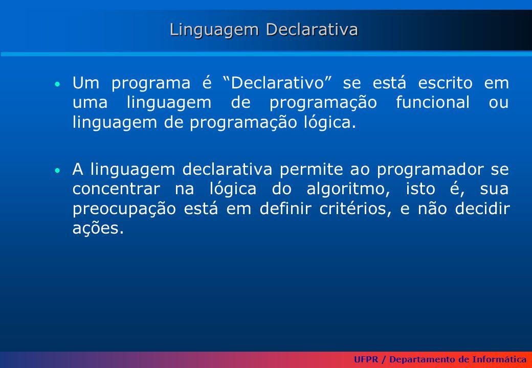 UFPR / Departamento de Informática Linguagem Declarativa Um programa é Declarativo se está escrito em uma linguagem de programação funcional ou linguagem de programação lógica.