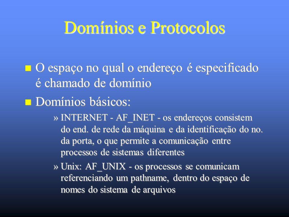 Domínios e Protocolos O espaço no qual o endereço é especificado é chamado de domínio O espaço no qual o endereço é especificado é chamado de domínio Domínios básicos: Domínios básicos: »INTERNET - AF_INET - os endereços consistem do end.