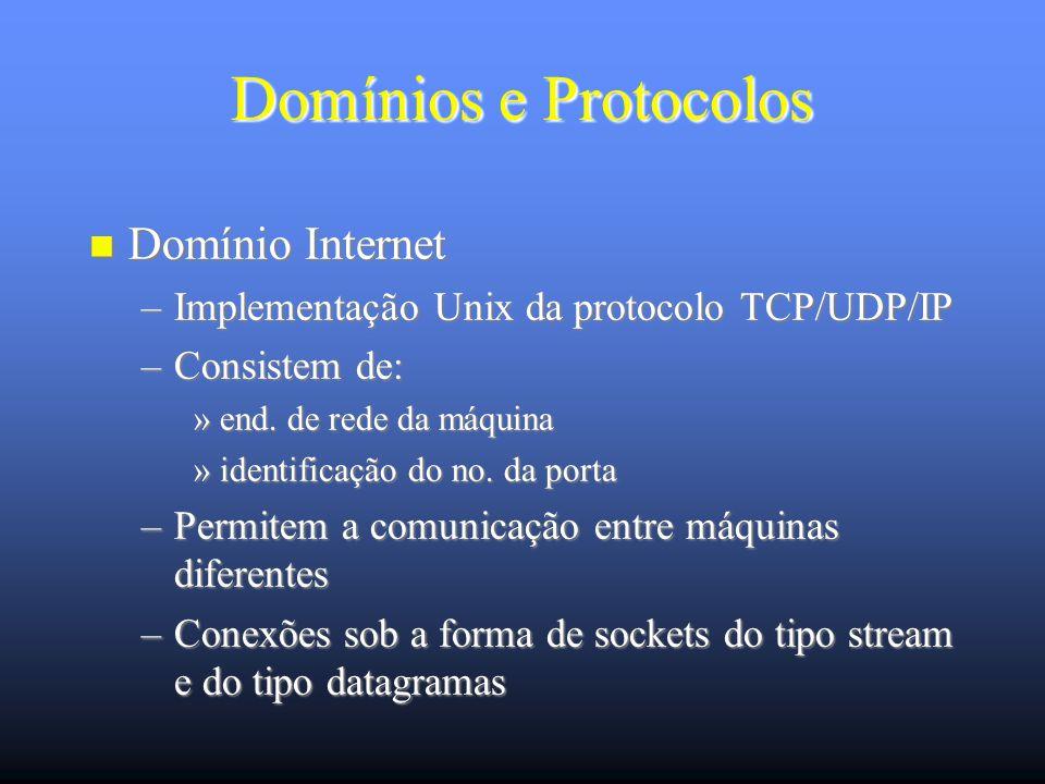 Domínios e Protocolos Domínio Internet Domínio Internet –Implementação Unix da protocolo TCP/UDP/IP –Consistem de: »end.
