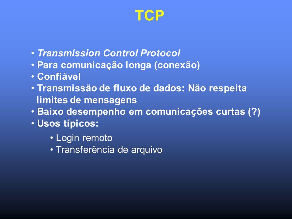 TCP Transmission Control Protocol Para comunicação longa (conexão) Confiável Transmissão de fluxo de dados: Não respeita limites de mensagens Baixo desempenho em comunicações curtas ( ) Usos típicos: Login remoto Transferência de arquivo