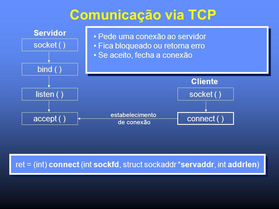 Comunicação via TCP Servidor socket ( ) bind ( ) listen ( ) accept ( ) socket ( ) connect ( ) Cliente Pede uma conexão ao servidor Fica bloqueado ou retorna erro Se aceito, fecha a conexão ret = (int) connect (int sockfd, struct sockaddr *servaddr, int addrlen) estabelecimento de conexão