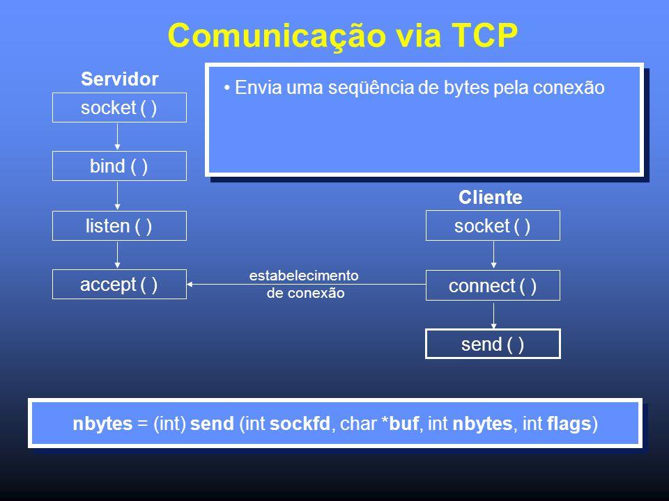 Comunicação via TCP Servidor socket ( ) bind ( ) listen ( ) accept ( ) socket ( ) connect ( ) send ( ) estabelecimento de conexão Cliente Envia uma seqüência de bytes pela conexão nbytes = (int) send (int sockfd, char *buf, int nbytes, int flags)