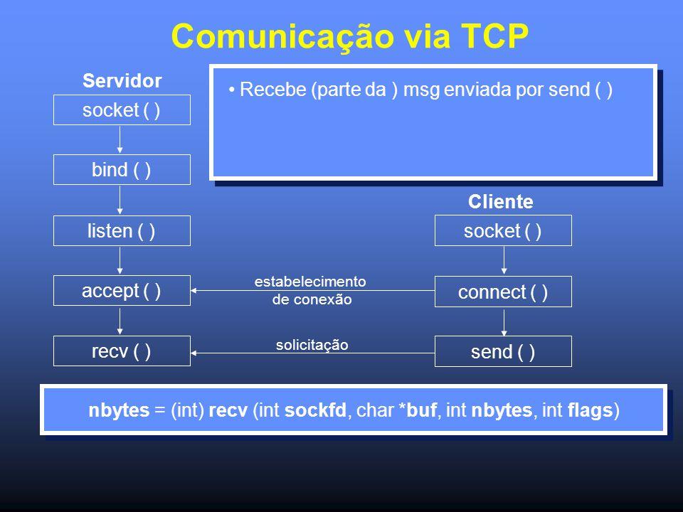 Comunicação via TCP Servidor socket ( ) bind ( ) listen ( ) accept ( ) recv ( ) socket ( ) connect ( ) send ( ) estabelecimento de conexão solicitação Cliente Recebe (parte da ) msg enviada por send ( ) nbytes = (int) recv (int sockfd, char *buf, int nbytes, int flags)
