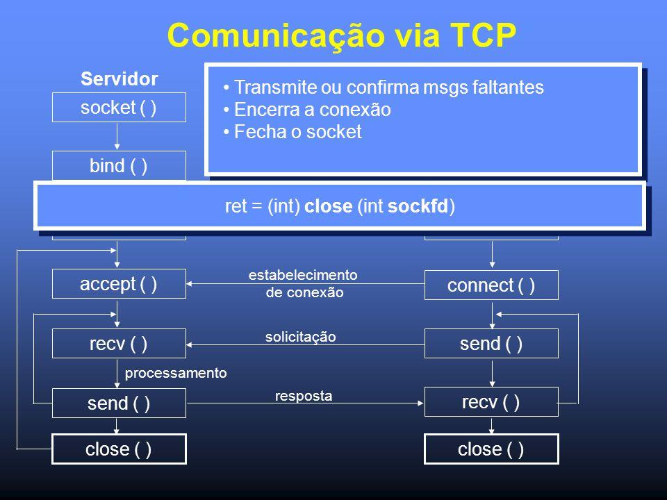 Comunicação via TCP Servidor socket ( ) bind ( ) listen ( ) accept ( ) recv ( ) send ( ) socket ( ) connect ( ) send ( ) recv ( ) estabelecimento de conexão solicitação resposta processamento Cliente Transmite ou confirma msgs faltantes Encerra a conexão Fecha o socket close ( ) ret = (int) close (int sockfd)