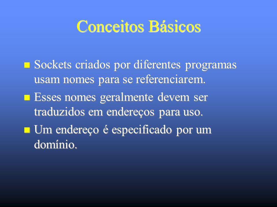 Comunicação via TCP Servidor socket ( ) bind ( ) listen ( ) accept ( ) socket ( ) Cliente Cria um socket idêntico ao do servidor (mesma família e tipo) sockfd = (int) socket (int family, int type, int protocol)