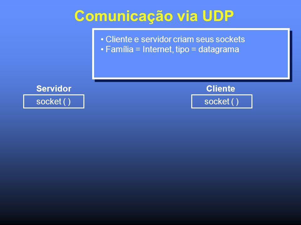 Comunicação via UDP Servidor socket ( ) Cliente Cliente e servidor criam seus sockets Família = Internet, tipo = datagrama