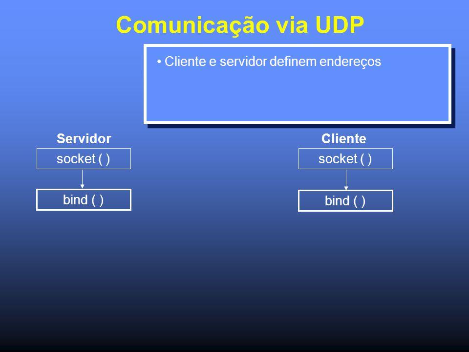 Comunicação via UDP Servidor socket ( ) bind ( ) socket ( ) bind ( ) Cliente Cliente e servidor definem endereços