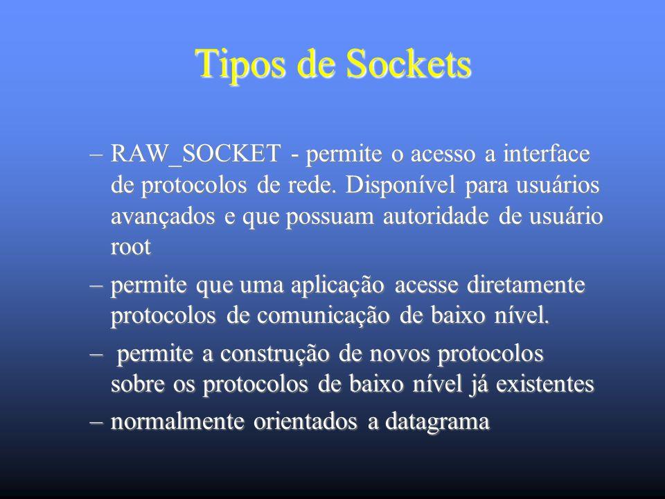 Tipos de Sockets –RAW_SOCKET - permite o acesso a interface de protocolos de rede.