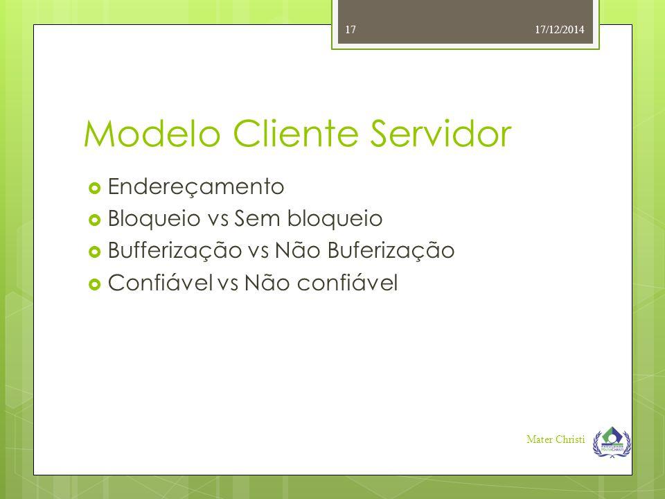 Modelo Cliente Servidor 17/12/2014 Mater Christi 17  Endereçamento  Bloqueio vs Sem bloqueio  Bufferização vs Não Buferização  Confiável vs Não co