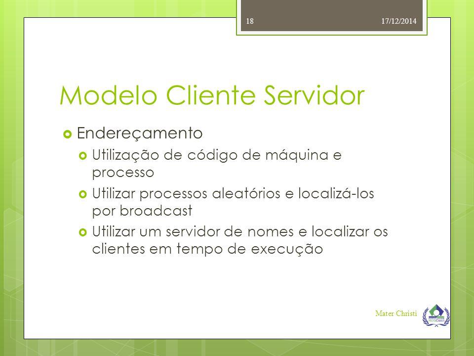 Modelo Cliente Servidor 17/12/2014 Mater Christi 18  Endereçamento  Utilização de código de máquina e processo  Utilizar processos aleatórios e loc