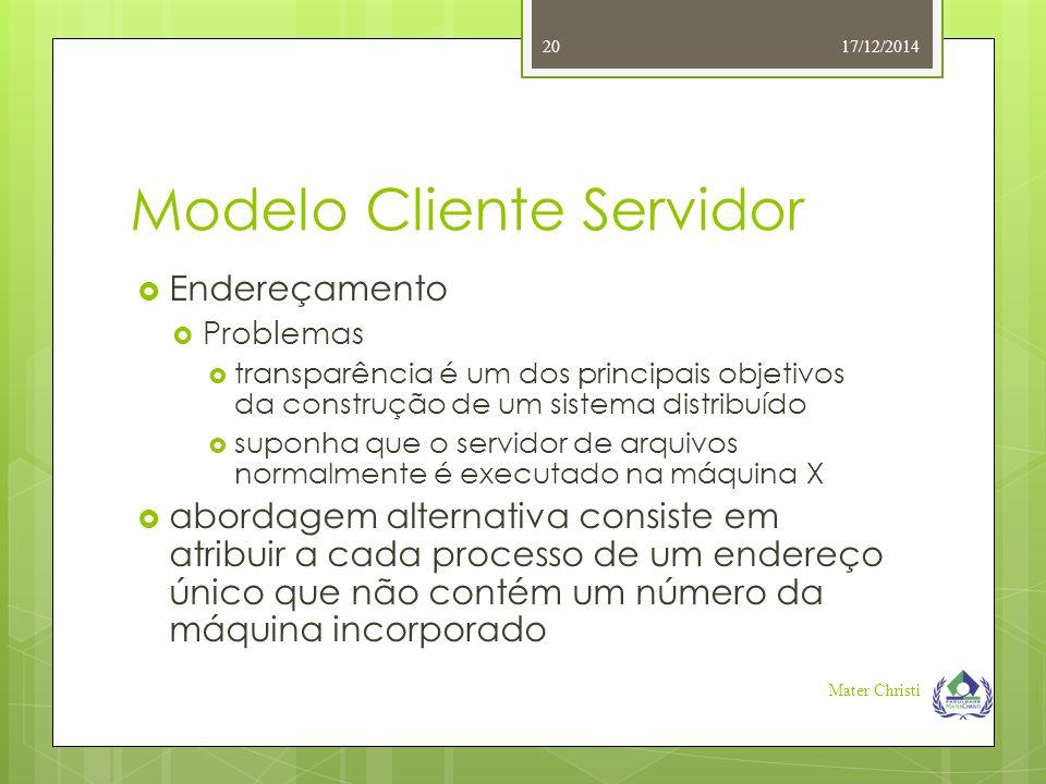 Modelo Cliente Servidor 17/12/2014 Mater Christi 20  Endereçamento  Problemas  transparência é um dos principais objetivos da construção de um sist
