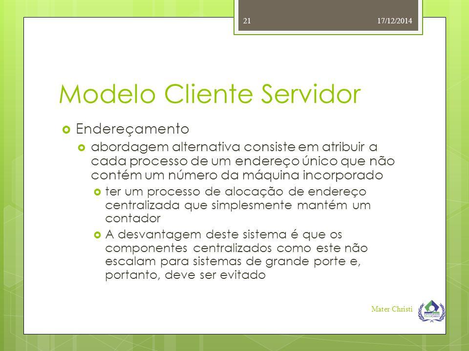 Modelo Cliente Servidor 17/12/2014 Mater Christi 21  Endereçamento  abordagem alternativa consiste em atribuir a cada processo de um endereço único