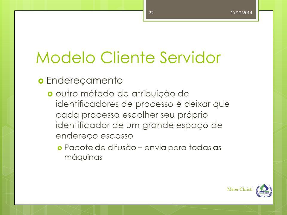 Modelo Cliente Servidor 17/12/2014 Mater Christi 22  Endereçamento  outro método de atribuição de identificadores de processo é deixar que cada proc