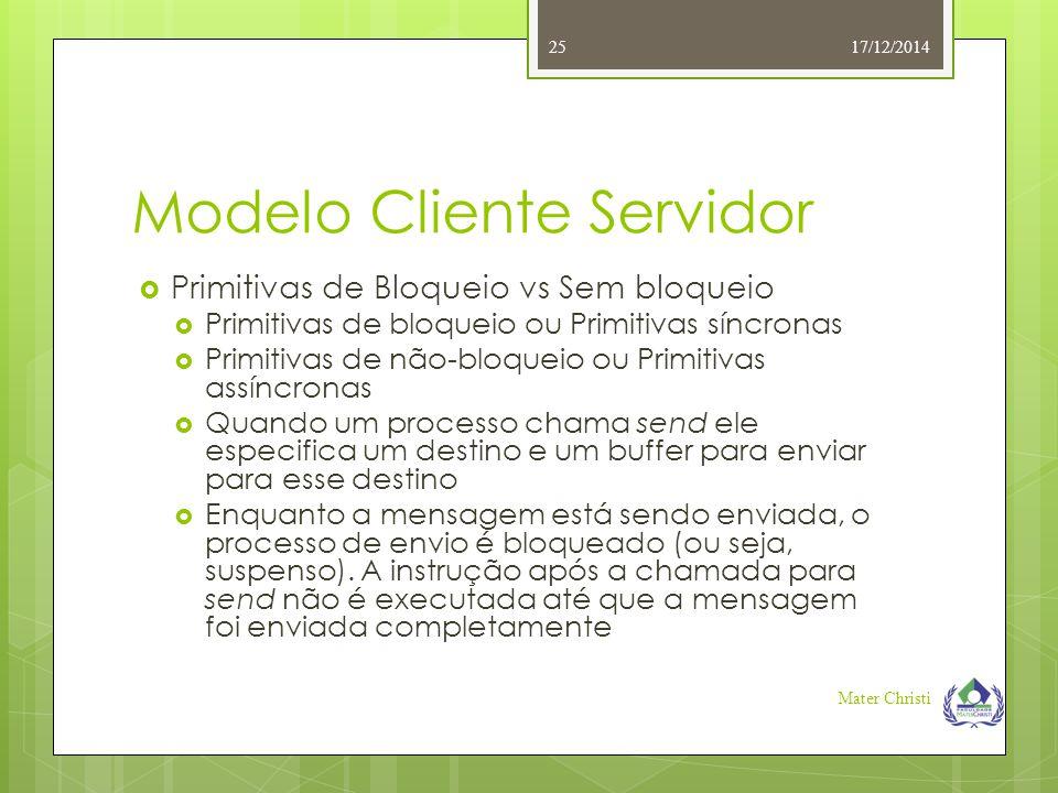 Modelo Cliente Servidor 17/12/2014 Mater Christi 25  Primitivas de Bloqueio vs Sem bloqueio  Primitivas de bloqueio ou Primitivas síncronas  Primit