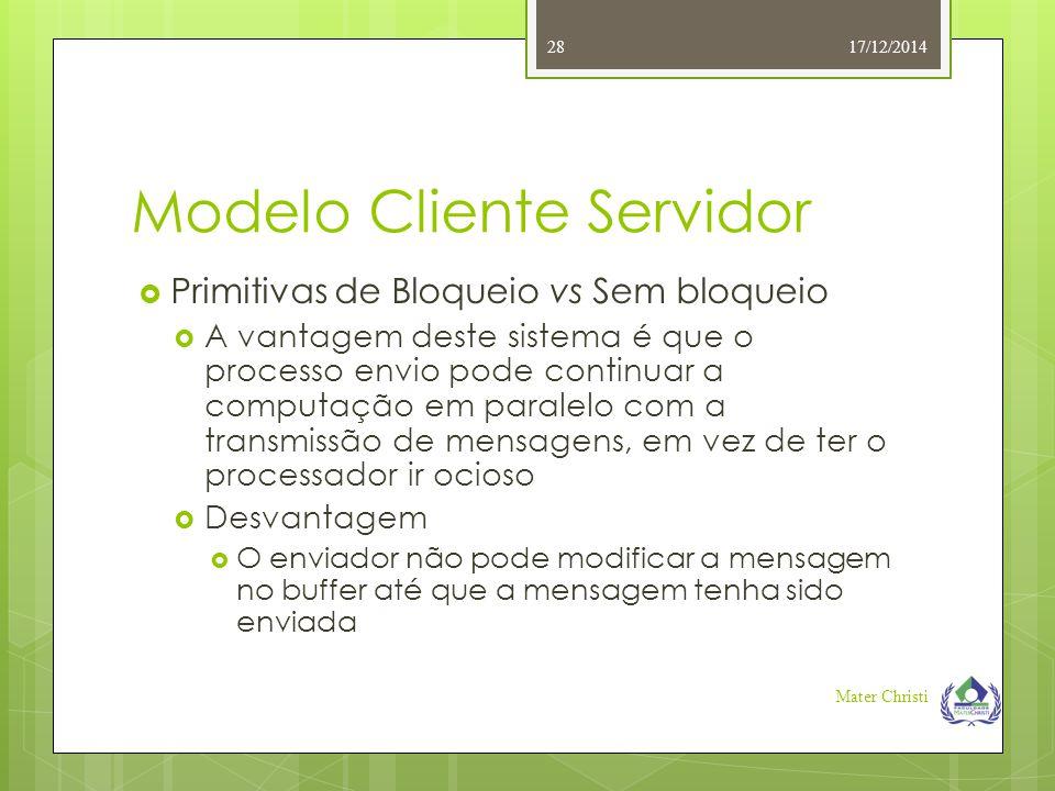 Modelo Cliente Servidor 17/12/2014 Mater Christi 28  Primitivas de Bloqueio vs Sem bloqueio  A vantagem deste sistema é que o processo envio pode co