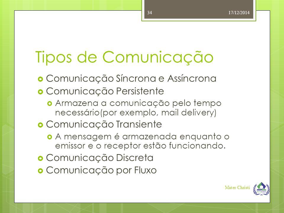 Tipos de Comunicação  Comunicação Síncrona e Assíncrona  Comunicação Persistente  Armazena a comunicação pelo tempo necessário(por exemplo, mail de
