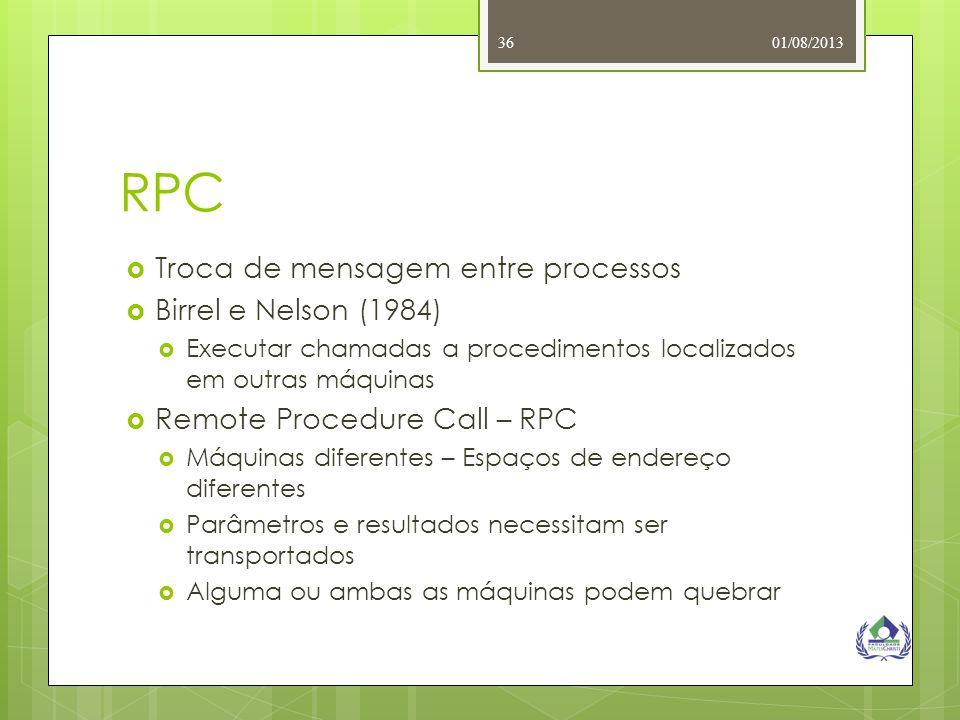 01/08/201336 RPC  Troca de mensagem entre processos  Birrel e Nelson (1984)  Executar chamadas a procedimentos localizados em outras máquinas  Rem