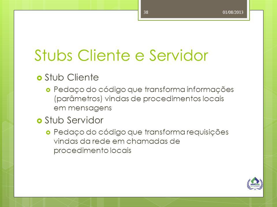 01/08/201338 Stubs Cliente e Servidor  Stub Cliente  Pedaço do código que transforma informações (parâmetros) vindas de procedimentos locais em mens