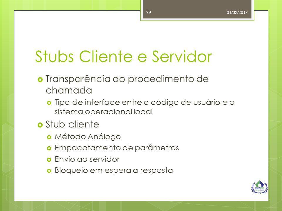 01/08/201339 Stubs Cliente e Servidor  Transparência ao procedimento de chamada  Tipo de interface entre o código de usuário e o sistema operacional