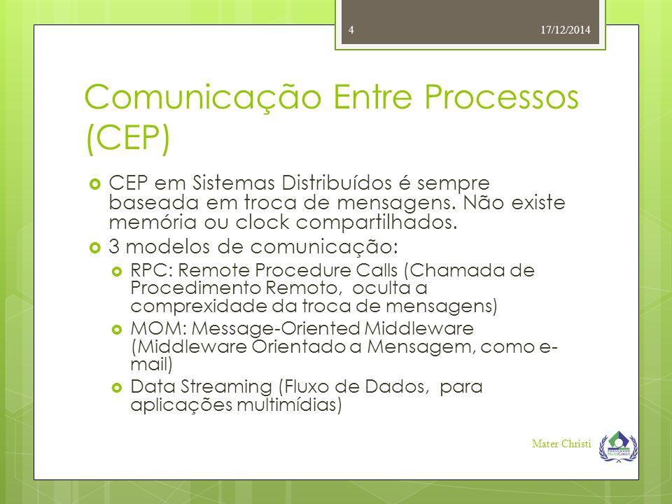 Comunicação Entre Processos (CEP)  CEP em Sistemas Distribuídos é sempre baseada em troca de mensagens. Não existe memória ou clock compartilhados. 