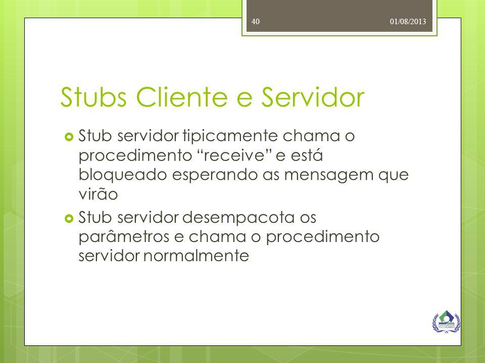"""01/08/201340 Stubs Cliente e Servidor  Stub servidor tipicamente chama o procedimento """"receive"""" e está bloqueado esperando as mensagem que virão  St"""