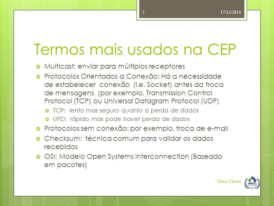 Termos mais usados na CEP  Multicast: enviar para múltiplos receptores  Protocolos Orientados a Conexão: Há a necessidade de estabelecer conexão (i.