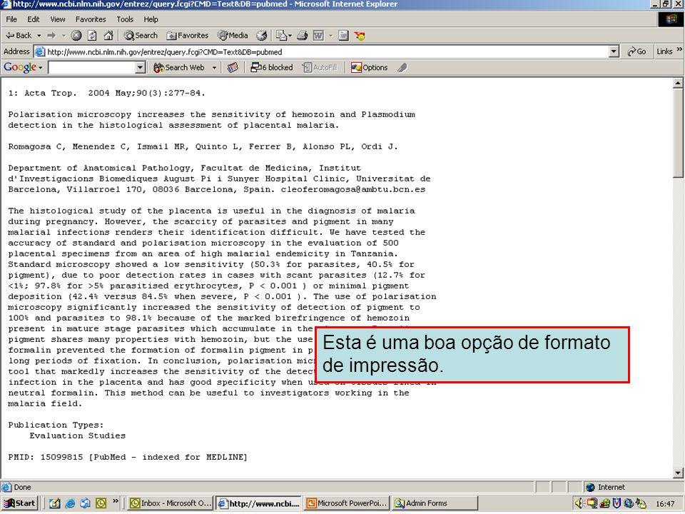 Envio em formato de Texto 2 Esta é uma boa opção de formato de impressão.