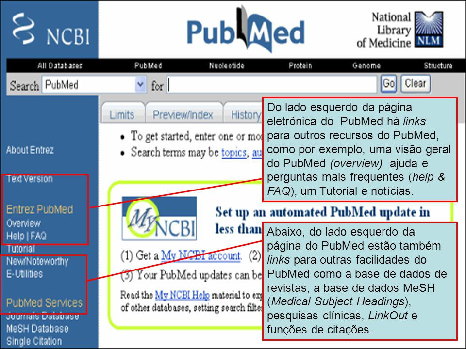 Menu do lado esquerdo do PubMed Do lado esquerdo da página eletrônica do PubMed há links para outros recursos do PubMed, como por exemplo, uma visão g