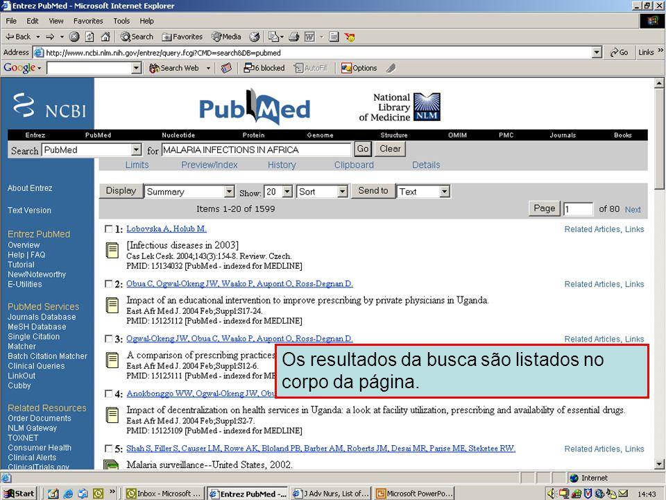 Resultados – display padrão Os resultados da busca são listados no corpo da página.